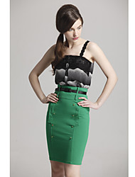 De unifo Mostrar Mujeres Botones del caramelo del color verde falda