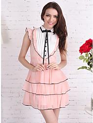 TS Vintage Palce Style Bow Ruffle Hem Chiffon Dress