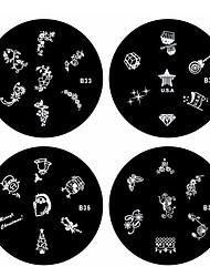 4ШТК ногтей штамп штамповка изображения шаблона плиты серии B (№ 33-36)