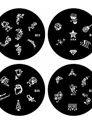 4tlg Nail Art Stempel Stamping Schablone Platte B Series (Nr.33-36)