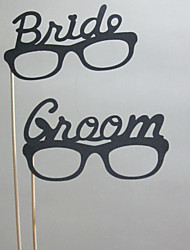 Wedding Décor Bride&Groom Photo Booth Props On A Stick