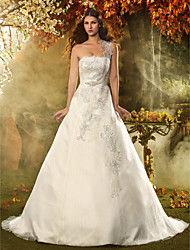 Lan Ting A-line/Princess Wedding Dress - Ivory Court Train One Shoulder Lace/Satin/Tulle