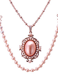 D 3 Rose Gold Pearl Double Dual Layer Long Chain Necklace