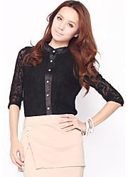 KARORINLAN Frauen Schwarze Schwalbe Neck Lace Cotton Shirt
