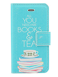 Prenota e Pattern Teas PU Caso Full Body con slot per schede e Stand per iPhone 4/4S (Blu)