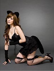 Sexy Tentação uniforme bonito gato desliza com as orelhas e ligas e luvas
