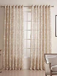(Two Panels) Country Floral Linen/Cotton Blend Sheer Curtain