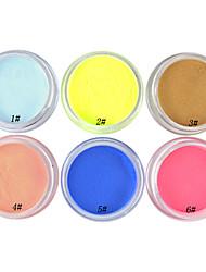 1PCS multi-couleurs nail art, Sculpture, Sculpture poudre acrylique (couleur assortie, No.1-6)