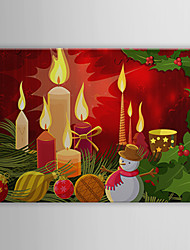 Stretched Canvas Print Art Christmas Candle