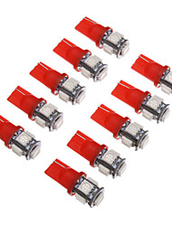 2pcs T10 5x5050SMD 50-80LM Red Light Bulb para carro (12V) LED