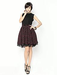 Polka Dot mangas Vestido de malla Incluye correa de unifo Mostrar Mujeres