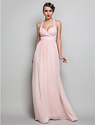 Homecoming Formal Evening/Prom/Military Ball Dress - Pearl Pink Plus Sizes Sheath/Column V-neck Floor-length Chiffon