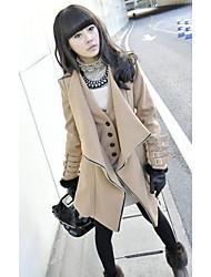 Women's Fashion Lapel Buttons Piping Coat