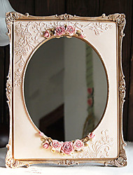 """13.5 """"Floral Country Style Polyresin table Mirror"""