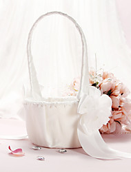 Ivory Flower Basket With Bow and Flower
