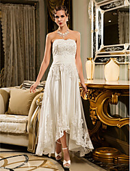 Lanting A-line Petite / Plus Sizes Wedding Dress - Ivory Asymmetrical Strapless Tulle