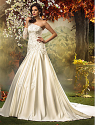 Lanting Fit & Flare Plus Sizes Wedding Dress - Ivory Chapel Train One Shoulder Satin/Tulle