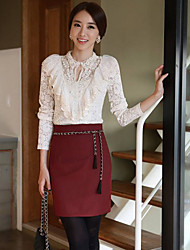 Women's Lace/Solid White Blouse/Shirt , Round Neck Long Sleeve Lace/Ruffle