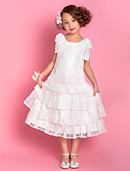 Lanting Bride ® A-line / Princess Tea-length Flower Girl Dress - Lace Sleeveless Square with Bow(s) / Tiers