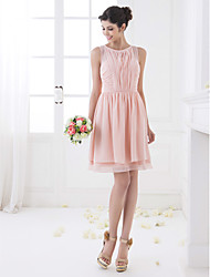 Lanting Bride® Knee-length Chiffon Bridesmaid Dress - A-line Jewel Plus Size / Petite with Draping / Ruching