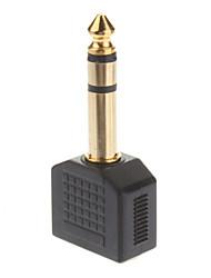 6,35 mm stéréo mâle vers 2 x Jack 3,5 mm stéréo Splitter Adaptateur femelle plaqué or