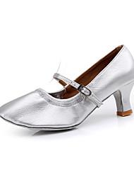 Non Customizable Women's Dance Shoes Modern/Ballroom Leatherette Chunky Heel Ivory/Silver