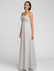 Lanting Bride® Floor-length Chiffon Bridesmaid Dress - Sheath / Column Sweetheart Plus Size / Petite with Beading / Criss Cross / Ruching