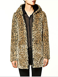 Long Sleeve Hooded Faux Fur Party/Casual Coat