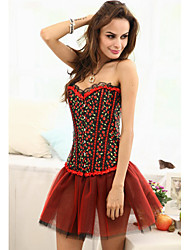 Sexy Corset Strapless Red Caoji Mulher e T-back