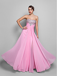 Formal Evening/Prom/Military Ball Dress - Candy Pink Plus Sizes A-line Strapless Floor-length Chiffon
