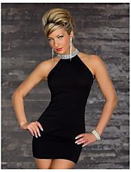 Shixianli Женская сплошной цвет ночной клуб платье (черный)