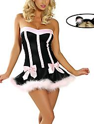 Costumes de Cosplay / Costume de Soirée Bunny girl Fête / Célébration Déguisement Halloween Incarnadin Mosaïque Robe / CoiffureHalloween