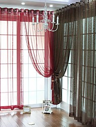 TWOPAGES® (One Panel Grommet Top) Elegant Solid Sheer Curtain
