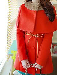 Mond Sonntag Frauen Red süße Zweiteiler Einreiher Tweed-Mantel