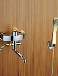 Shower Tub Faucet Chrome Finish with Golden Handshower and Rotatable Spout