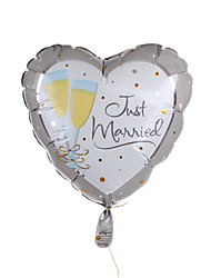 Wedding Décor Heart Metallic Balloon - Champagne Toasting Flutes