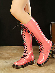MDQC Rosa Frauen-PU-Leder Lace-Up Knee High Boots
