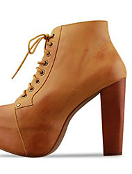 So Kull Women's Brown Platform Chunky Heel Lace-Ups Ankle Boots