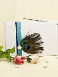 Blue Stripe With Peacock Feather White Guest Book With Pen Set Sign In Book
