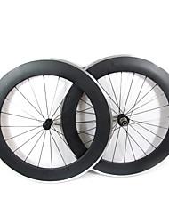 Farsports-700C route 80mm enclume de roues de vélo de route de carbone avec frein en alliage