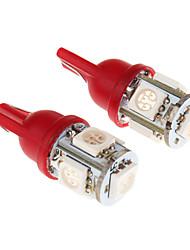 T10 5x5050SMD 194 168 RED Lâmpada LED para carro (DC 12V)