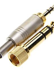 Vergoldet 6,35 mm auf 3,5 mm Stereo-Stecker-Adapter Löten