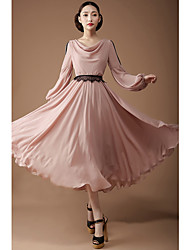 TS Cowl Pleated Dress , Polyester Maxi Long Sleeve
