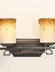 Wall Light, 2 Luce, American Style Ferro Vetro elaborazione pittura