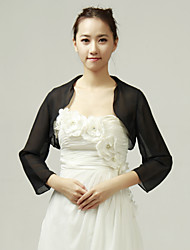 Wedding  Wraps Coats/Jackets 3/4-Length Sleeve Chiffon Black Wedding / Party/Evening