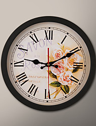 "12 ""H Black Frame Flower Painting Wanduhr"