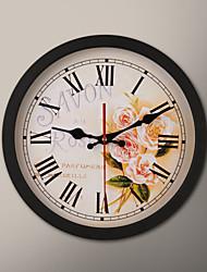 """12 """"H Black Frame da pintura da flor Relógio de parede"""