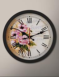 """12 """"H Black Frame pintura de Rosa Relógio de parede"""