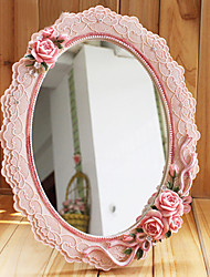"""12.5 """"Unique Country Style floral Polyresin table Mirror"""