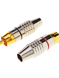 1 Pair RCA Plug Audio Cable Male Connector Gold Adapter